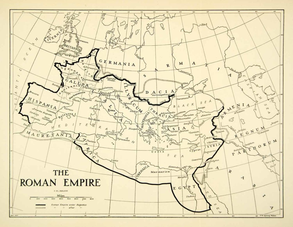 Map of Roman Empire during rule of Caesar Augustus